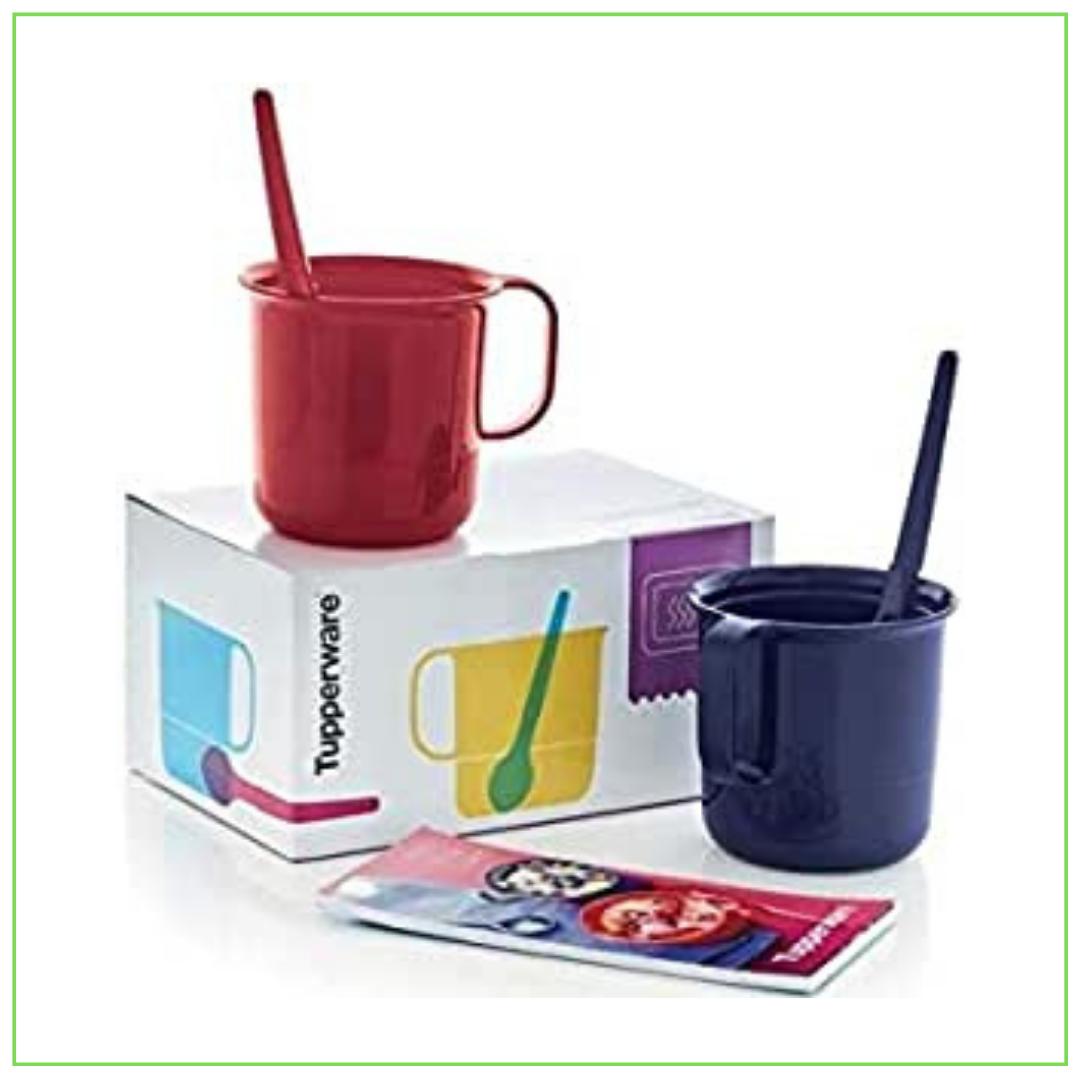 """""""Tupperware"""" mikrobangų krosnelės pyrago mikropuodelių rinkinys su šaukštais dovanų dėžutėje 2x 330 ml"""