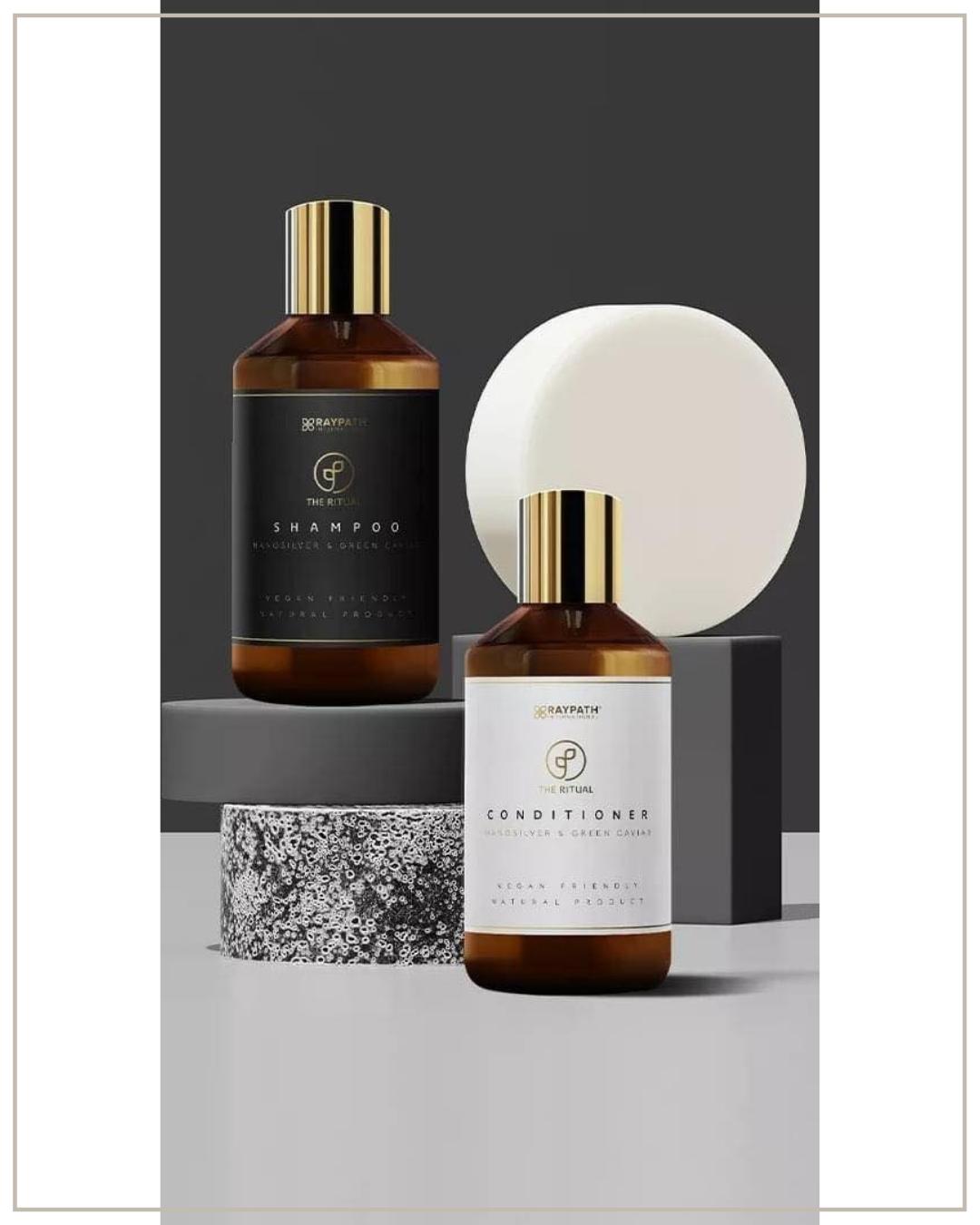 Raypath plaukų priežiūros rinkinys: žaliųjų jūros dumblių ikrų šampūnas+kondicionierius